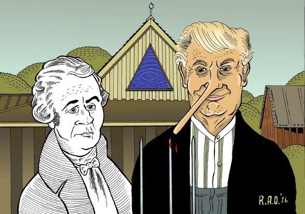 Det er tydelige skilnader på folk før og nå, mener Tom Sjeklesæther. Tegning: Robin A. Olsen