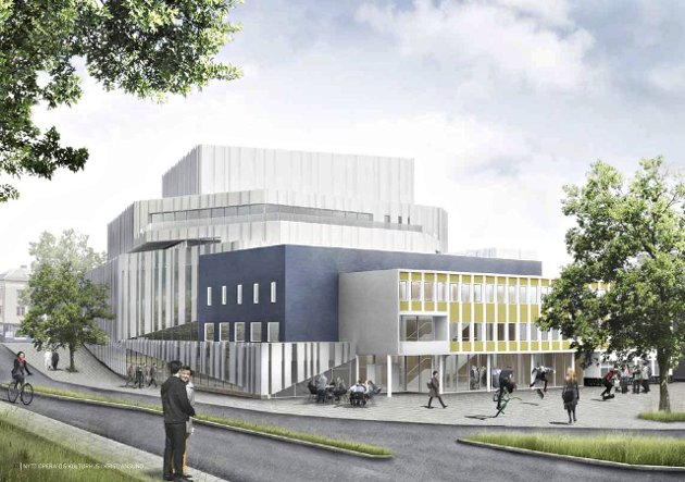 – Et nytt opera- og kulturhus vil bli et kulturelt sentrum til glede for hele den nye kommunen, skriver Sidsel Sæterøy og Arne Alnæs i Kristiansund og Nordmøre næringsforum. Illustrasjon: C.F. Möller