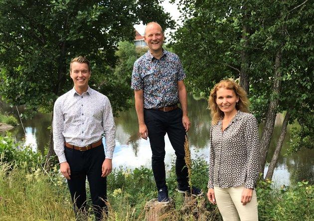 Stortingskandidater: 3. kandidat Lars Vegard Fosser, stortingsrepresentant Ole André Myhrvold og 2. kandidat Kjerstin Wøyen Funderud i Østfold Senterparti