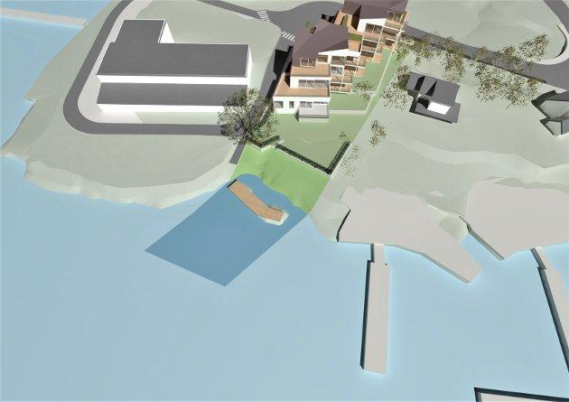 Illustrasjon med markering av området på land og i sjø som omgjøres fra privat til offentlig på Husvikholmen.