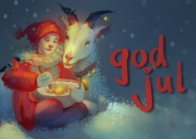 Julekort tegnet av Gabrielle Reinfjell