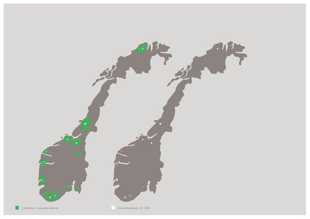 20% økning i kraftproduksjonen vil kreve et planområde på 0,15% av fastlandsarealet.