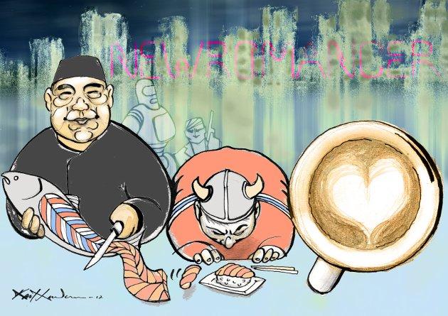 UTENLANDSK: «Det hjalp ikke engang at det var norske handelsreisende i fisk som hadde fått japanerne til å spise noe så lite japansk som laksesushi.» Oda Rygh om utenlandske saker og ting som brer om seg.