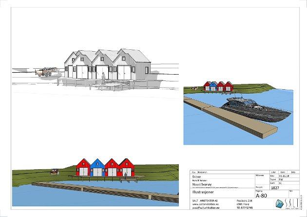 Skisser av naustprosjekt i samband med hyttefelt på Svanøy.