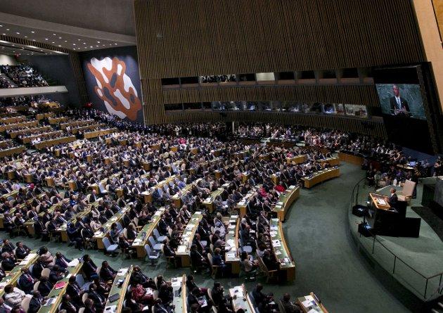 Krenk meg! Mens USAs tidligere president Barack Obama sa i FN at han ville forsvare alles rett til å krenke ham, vil statsoverhoder fra ulike muslimske land ha internasjonale grenser for ytringsfriheten. Foto: NTB Scanpix