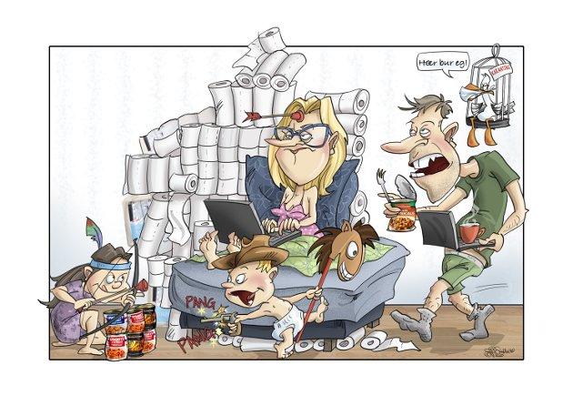 NY HVERDAG: Mange har fått en ny hverdag der både skole og jobb gjøres hjemmefra. Illustrasjon: Siv Grethe Bøhn-Pettersen i Dalane Tidende