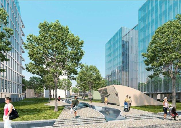 Vil ikke utsette: Ifølge skissen fra Niels Torp arkitektkontor skal sykehusområdet bli slik, sett fra syd. Mellom to høyblokker blir det   park, vannspeil og barnehage.