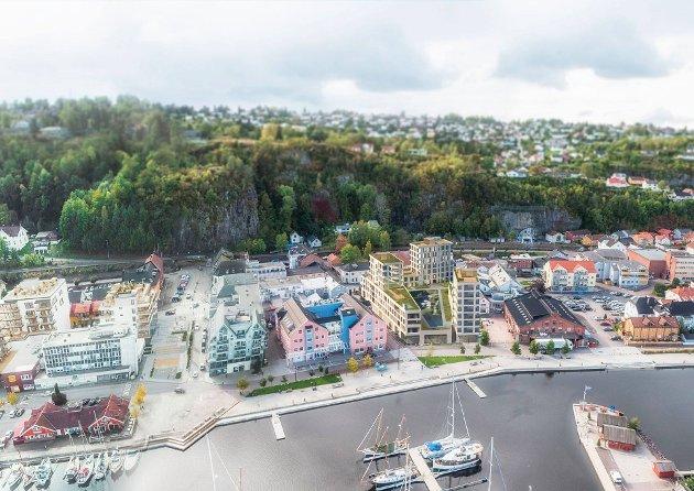 FORSLAG: Slik ser Asplan Viak for seg at området rundt brygga kan se ut. Illustrasjon: Asplan Viak