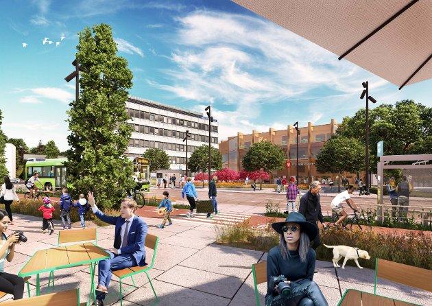 Vestsideveien og rådhusplassen med ny gateterminal for buss og bibliotek på gateplan i nytt bygg.