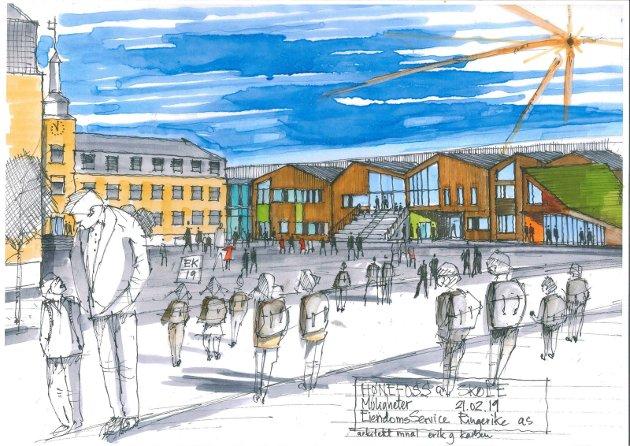 ARKITEKTFORSLAG: - Å opprettholde sentrumsskolen blir vesentlig for å klare å få ned biltrafikken, sier Hilde Grefsrud. Slik ser arkitekt Erik Karlsen for seg at en utbygging av Hønefoss skole kan skje.