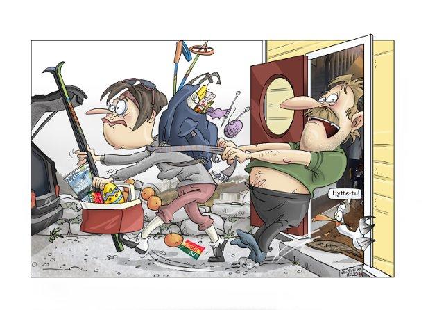 ANNERLEDES PÅSKE: Mange må legge bort den tradisjonelle hyttepåsken i år. (Illustrasjon: Siv Grethe Bøhn-Pettersen)