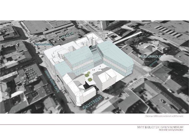 Slik vil Meierikvartalet kunne se ut dersom det nye Ibsenbiblioteket havner her.
