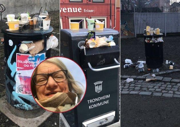 Dessverre har medaljen en bakside, og det er alt søppelet som etterlates når folk går hjem. Det flyter av søppel i parker og uterom. Tomme isbokser, flasker, pizzaesker, klissete papir, matrester, utbrente griller, og så videre ligger igjen og «pynter opp», skriver Hanne-Grethe Nordby om søppelproblemene på Bakklandet.
