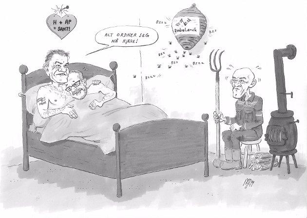 TIL SENGS: - Vårt inntog og mandat etter valget, førte til at H, Ap Sp, fant sammen for første gang i Larviks historie. Erkerivalene gikk til sengs lokalt, skriver gruppeleder Erik A. Sørensen i BedreLarvik.