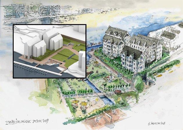 MÅTTE GJØRE OM: Etter å ha fått kritikk, fikk Format Eiendom tegnet om boligprosjektet Kanalparken i et mer tradisjonelt formspråk. Men heller ikke dette falt i smak hos kommunen, og dermed landet man på en mer moderne utforming med saltak (innfelt).