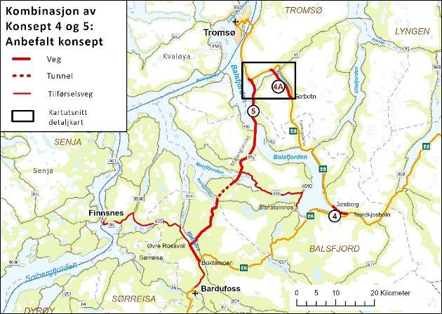 På kartet ser vi at Målselv-veien gjør vestre E8 delvis overflødig, og østre E8-trase med Tindtunnelen blir mer aktuell, skriver Magne Nymo og Terje Walnum.