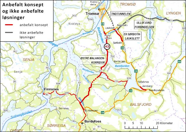 Kart over anbefalte og ikke-anbefalte løsninger i KVU Innfarter til Tromsø