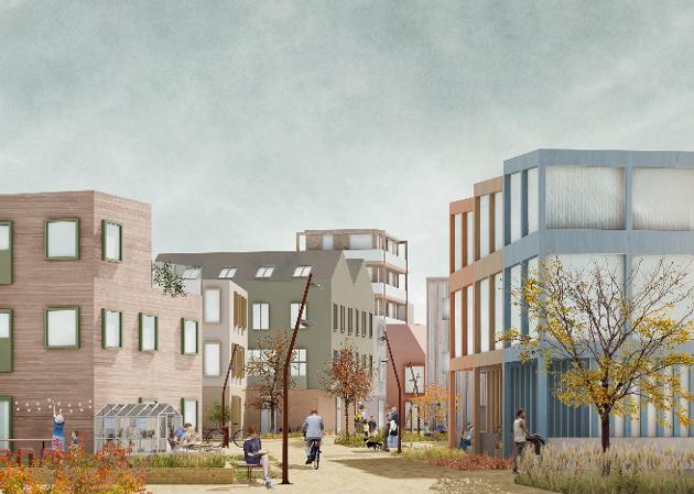 NYE PLANER: Kommunen ser for seg boliger og næring i havneområdet, og i en helt annen skala enn i dag. Sidsel Christensen savner analyse av arealbehovet. (Illustrasjon: Asplan Viak)