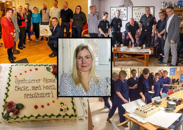 REAGERER PÅ KAKE: Linn Laupsa reagerer på at ordfører Thor Edquist reiser kommunen rundt med kake for å feire resultater som Laupsa mener skyldes dårligere kommunale tjenester.