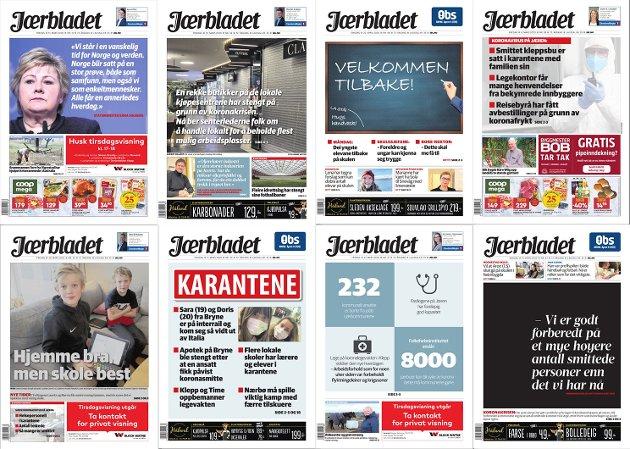 AVISFORSIDER: Koronaen har preget nyhetsbildet og avisforsidene til Jærbladet.