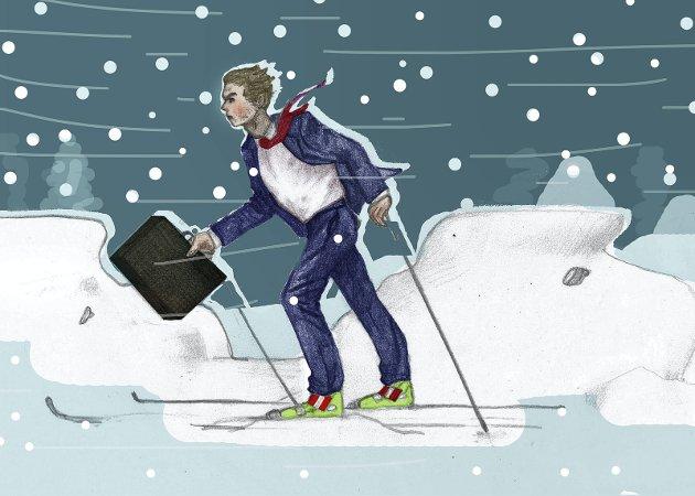 På ski til jobben: På dager som tirsdag kan det være like greit å ha skiene klare ved siden av stresskofferten. Illustrasjon: Marianne Karlsen