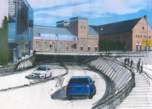 TUNNEL: En tunnel fra Kongens gate og rett opp til den nye jernbanestasjonen kan løse mange utfordringer, mener firemannsgruppen. Illustrasjon: Arkitekt Erik Karlsen