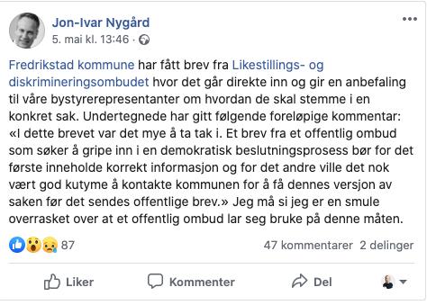 Ordfører Nygård ut mot Hanne Bjurstrøm