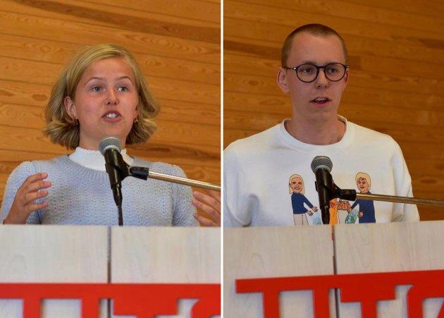 Petra Kvitting og Oscar Alexander Undahl på talerstolen på Utøya.