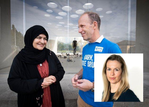 BARNEBRUD:  Maryam Jamali ble gift da hun var 11 år og gravid ett år senere. De fem barna har vokst opp i Lom og Lillehammer. Hennes historie bør få oss til å gi penger til årets TV-aksjon her avbildet med fylkesaksjonsleder i Plan Martin Bodd.