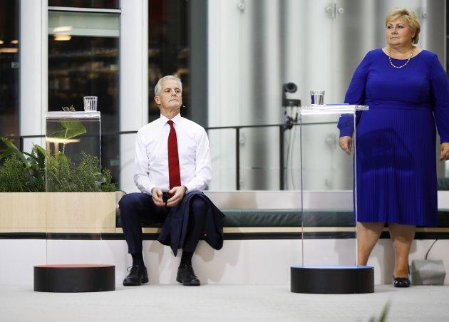 I MÅL: En lang valgkamp er straks over for Jonas Gahr Støre (Ap) og Erna Solberg (H). Nå gjenstår kun å få velgernes fasit - og, ikke minst, å bygge et slagkraftig og godt regjeringsalternativ for den av dem som får statsministerjobben.Foto: Javed Parsa/NTB