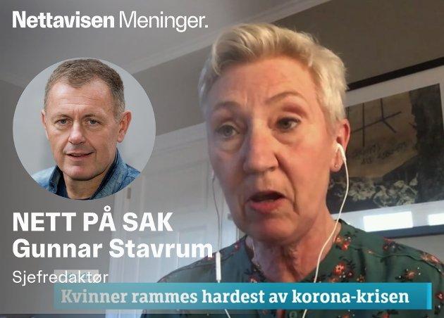 PÅSTAND: Kvinner rammes hardest av koronatiltakene, ifølge LO-nestleder Peggy Hessen Følsvik.