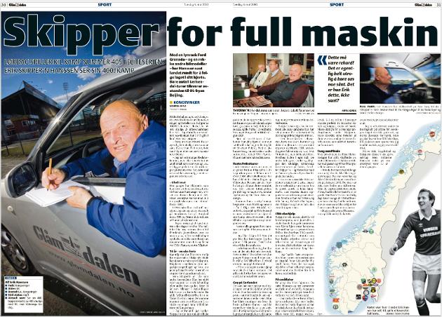 JUBILEUM: Denne reportasjen sto på trykk lørdag 8. mai 2010 da Skipper'n rundet 400 eliteseriekamper.