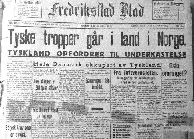 1. siden Fredriksstad Blad 9. april 1940
