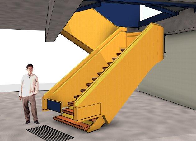 RAM Arkitektur og Rambøll Norge har sammen utformet den nye trappen, som skal bygges i tre.