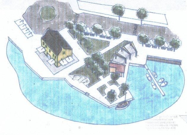 Dette er et av forslagene for parken ved Tollboden: Illustrasjon: Myraker Arkitekter AS.