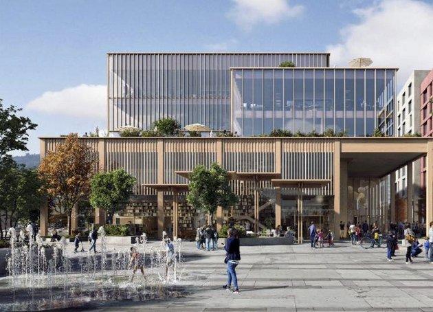 Slik ser skissene til det nye kulturhuset i Fyllingsdalen ut. Illustrasjonsfoto: Arkitektgruppen Cubus