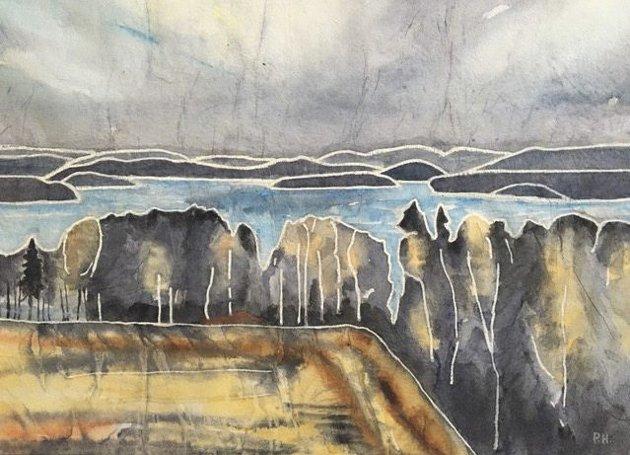 Päivi Hilska har malt denne akvarellen etter å ha vandret på Bodalsraet i påsken. Bildet viser utsikten fra Bodalsraet mot Isesjø.
