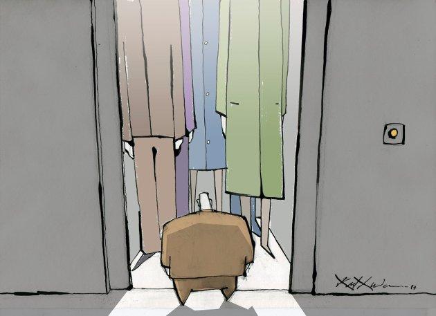 OLA NORDMANN I HEISEN: «Det er først når nordmannen er kommet ordentlig inn i heisen og døren er lukket at hun/han/hen går i elevatorkoma.» ILLUSTRASJON: KARL GUNDERSEN