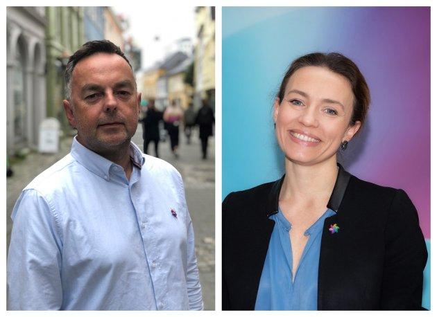 STJERNEGLEDE: Ingrid Stenstadvold Ross, generalsekretær i Kreftforeningen og Geir Vangsnes, distriktssjef Kreftforeningen Vestland.