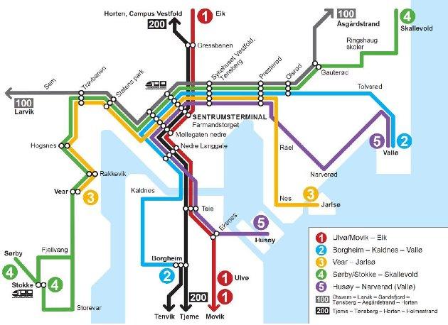 Forslag til nytt linjekart for by- og regionlinjer i Tønsberg