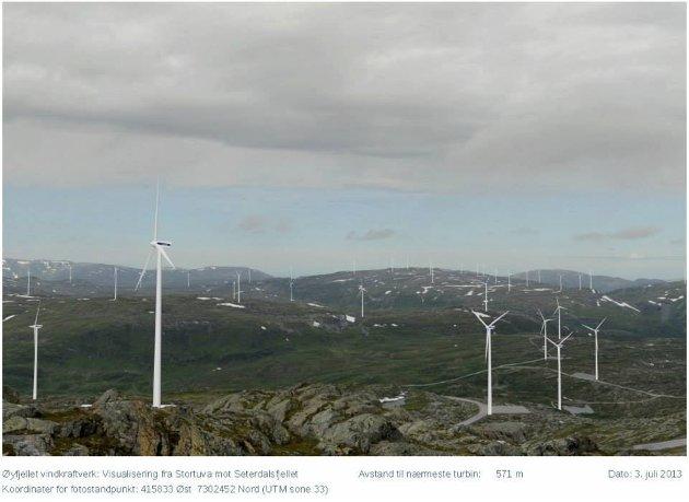 Visualisering av Øyfjellet vindkraftverk.