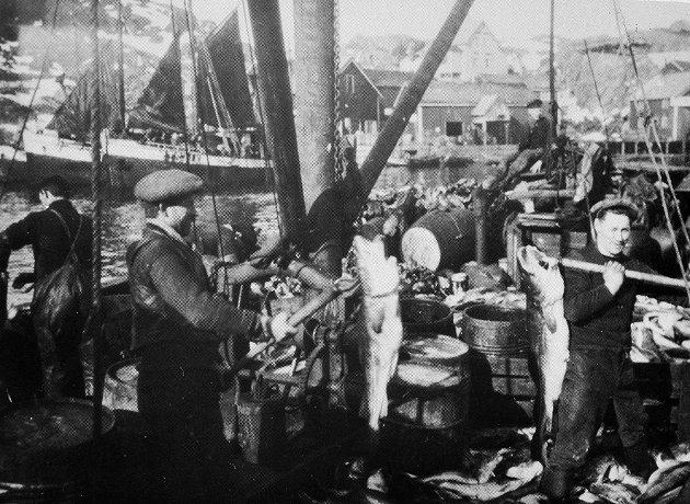 På bildet ser vi fra Stamsund i 1924. Ragnar Riksheim, Valberg, kjøpte fisk i ei avrigga jakt. Fisken vart kjøpt rund, på den tiden var det ikke kommet noe påbud om sløying. På bildet er  en i ferd med å kaste fisk i en åttring for så å føre den til Valbergsøya for henging.  Fisken som skulle saltes, ble saltet om bord.   Fra venstre (med ryggen til) Martin Øverjord, Tjønndal, Martin Tjønndal, Tjønndal  og til høyre fiskekjøper Ragnar Riksheim, Valberg.    Fartøyet lå utenfor Tørnholmen i Stamsund. Fiskebruket som vi ser tilhørte Lars Blix. Anlegget ble senere kjøpt av firma J.M. Johansen,  og  her var nå filetfabrikken til dette firmaet.   Det er Vilhjelm Riksheim som har tatt bildet.  Det var eier av bildet  Ragnar Riksheim som gav disse opplysningene.