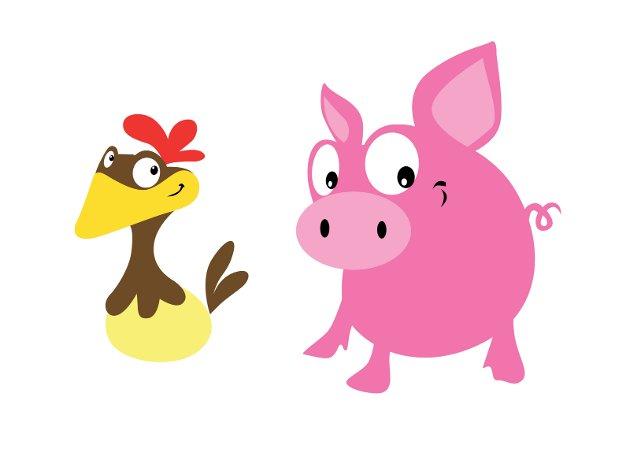 Egg og bacon, svara høna...