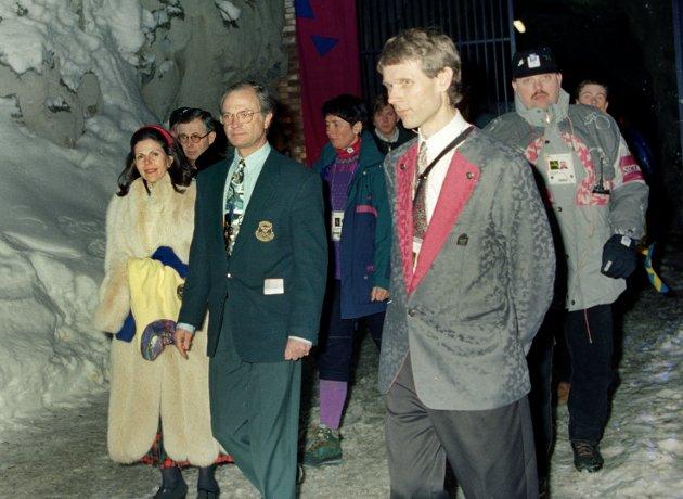 OL 1994. Kong Carl Gustav og dronning Silvia så at Sverige vant 3 - 0 over Tyskland i Fjellhallen.
