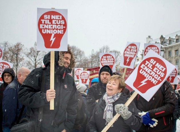 Si nei til ACER. Nei til EU, en rekke LO-forbund og Senterpartiet demonstrerte 23. januar mot ACER.