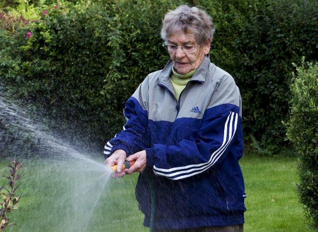 Prioritering: Hvis det samtidig med lite nedbør er varmt og mye hagevanning, kan konsekvensen bli at man ikke får nok vann til alle viktige behov. Når mange vanner hagene samtidig, blir dessuten vanntrykket lavere.Foto: NTB Scanpix