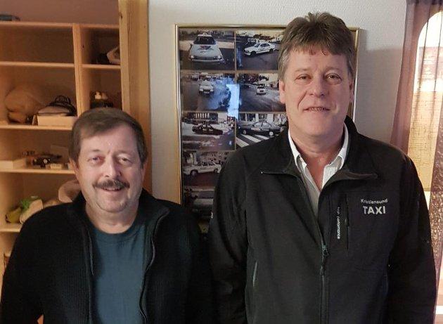 Leder i Fagligpolitisk utvalg i Senterpartiet Bengt G. Eriksson (t.v.) og Knut Magne Jektvik, Norges Taxiforbund Møre og Romsdal.