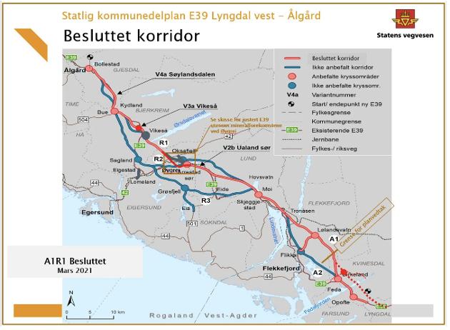 LØSNINGEN: Regjeringen har valgt korridor for ny E39 mellom Lyngdal og Ålgård. Løsningen blir R1-alternativet som går sør for Teksevatnet og via Vikeså gjennom Rogaland, og A1-alternativet via Lølandsvatn gjennom Agder.