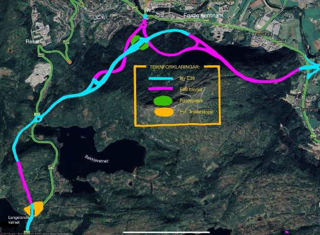 Skisse som gir eit grovt bilde av Bjarte Berge sitt forslag til ny E39.