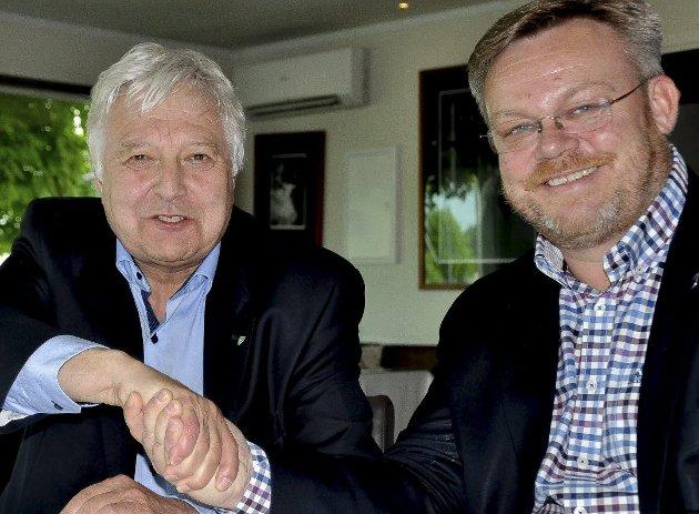Lise Rognerud (gruppeleder for Høyre) og ordfører Thor Hals (H) oppfordrer Høyre-medlemmene til å støtte Olav Breivik.